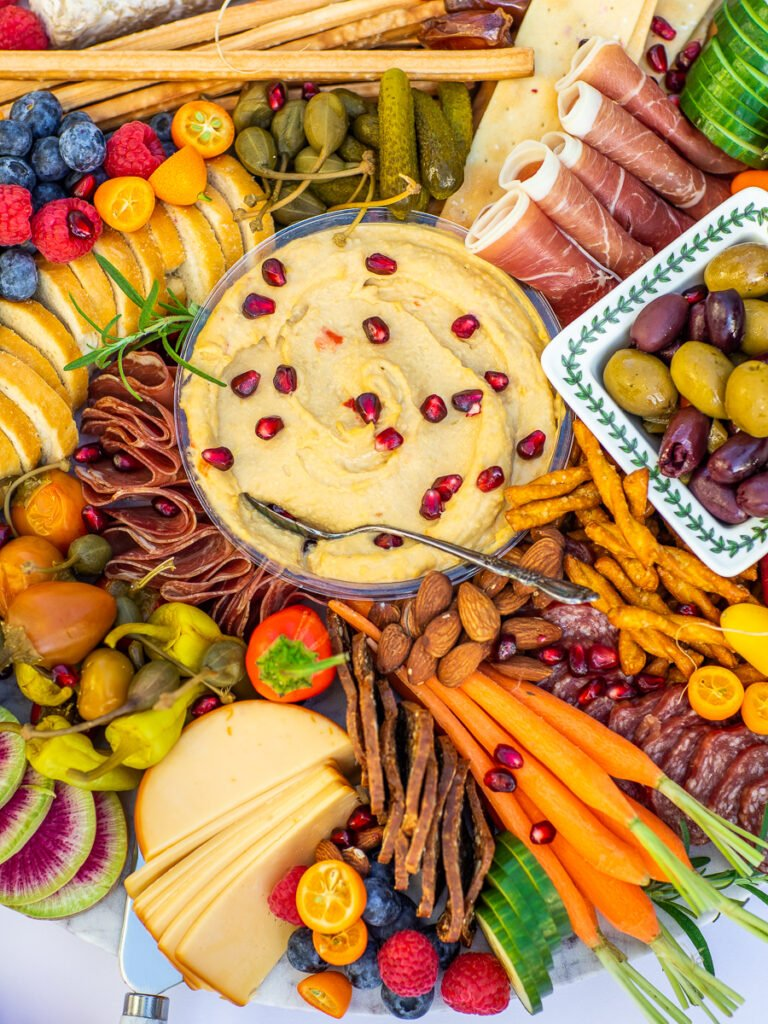 charcuterie board tutorial with hummus dip and veggies