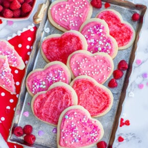heart shaped Valentine's Day sugar cookies with sprinkles