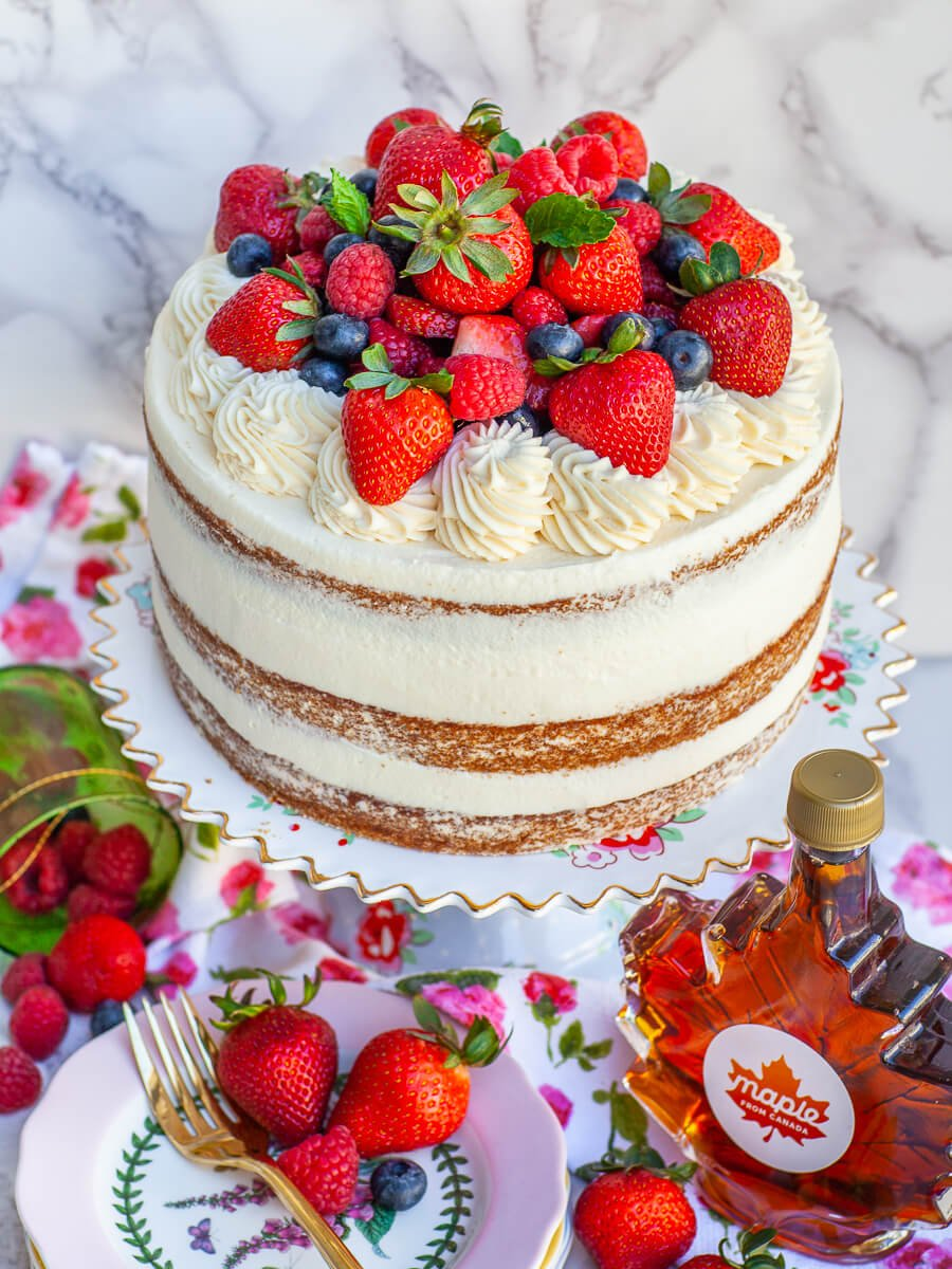 maple cake topped topped with berries