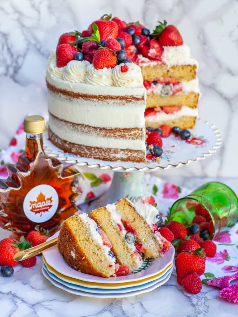 sliced maple berry cake with maple from canada