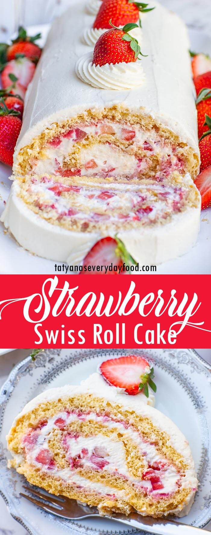 Strawberry Swiss Roll Cake video recipe