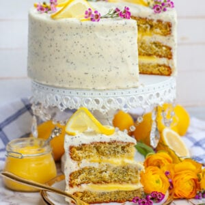 sliced lemon cake with lemon curd filling and cream cheese frosting