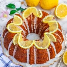 lemon pound cake bundt cake with lemon glaze and lemon garnish