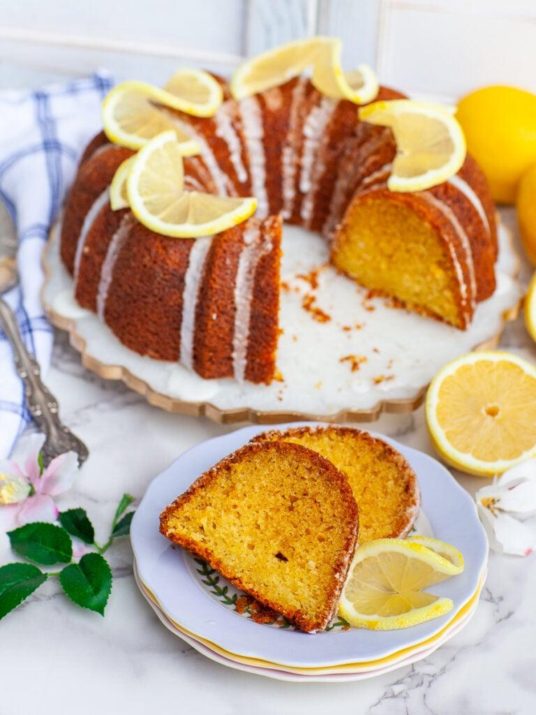 sliced lemon pound cake prepared in bundt cake pan