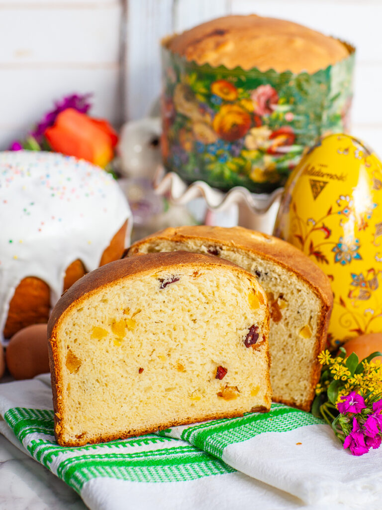 inside of Russian Easter bread with dried fruit pieces