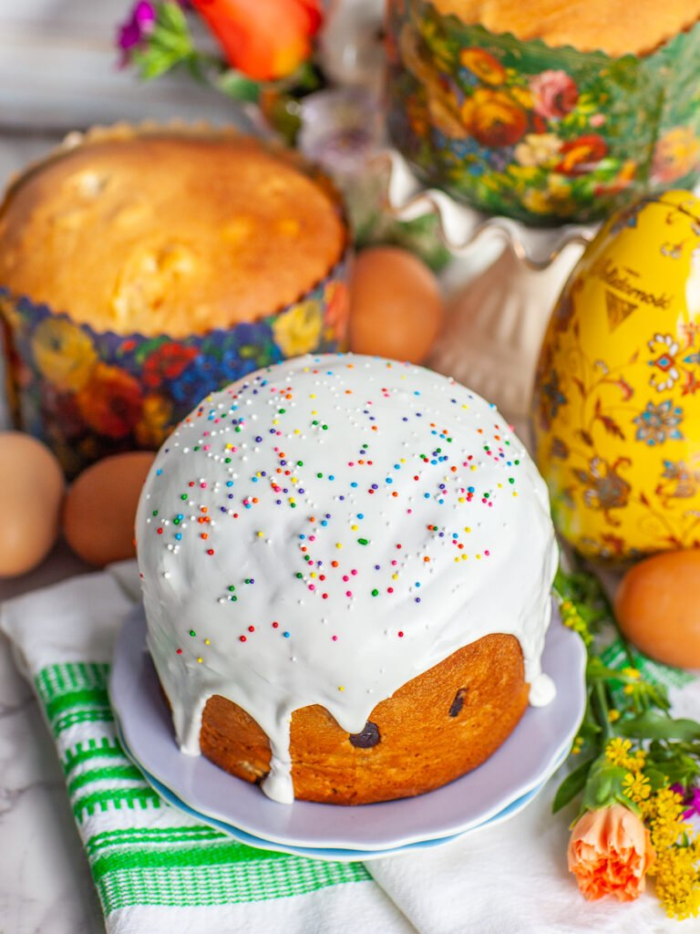 Russian Kulich Easter bread with royal icing glaze