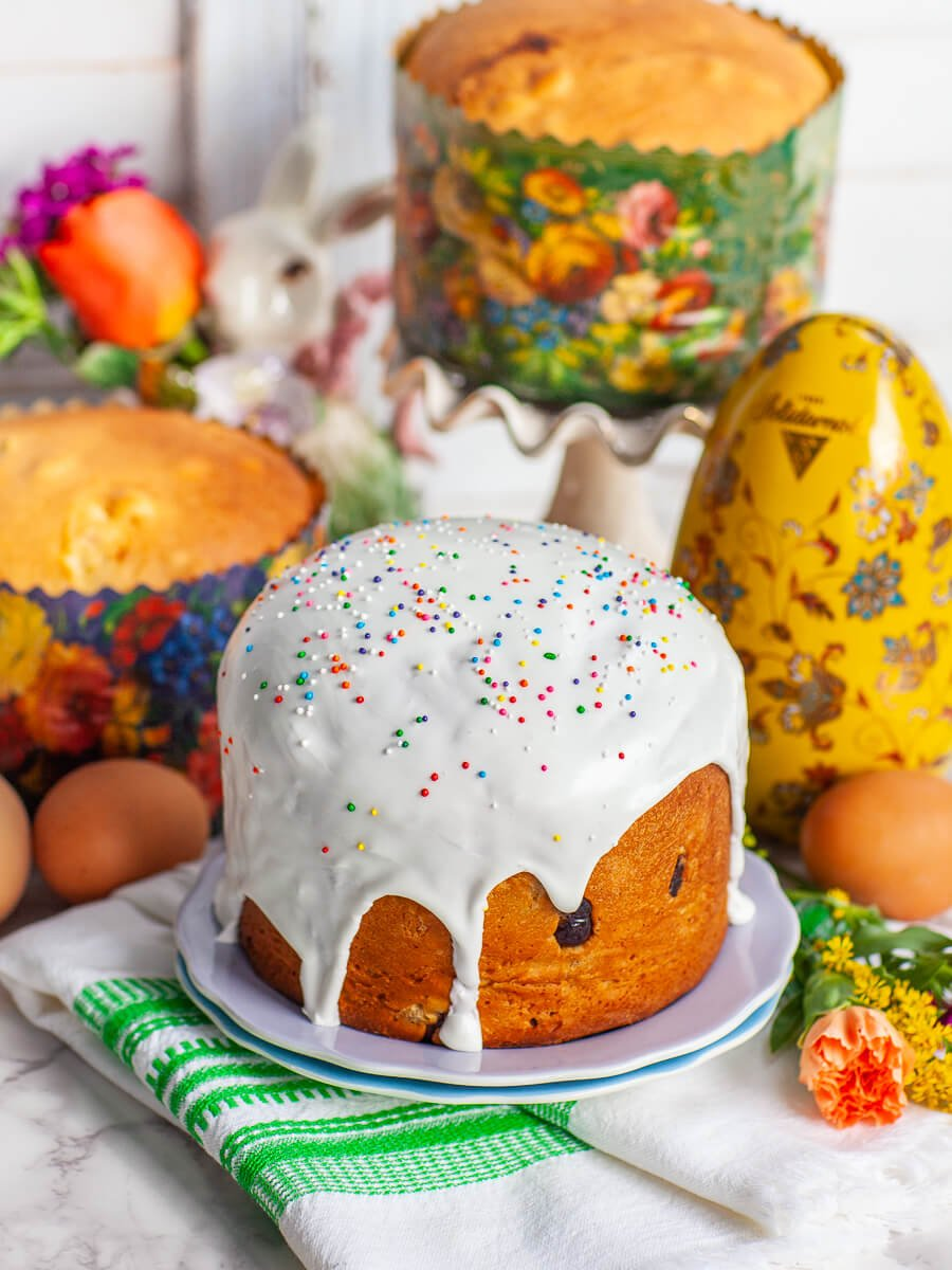 sweet yeast bread Kulich with royal icing glaze and nonpareils