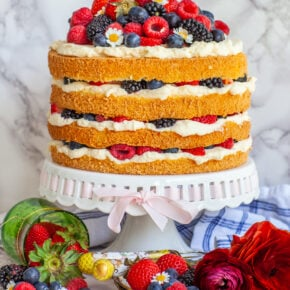 rustic stacked berry cake with open sides