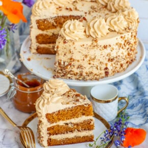 Russian Golden Key Cake with diced pecans, caramel cake and frosting