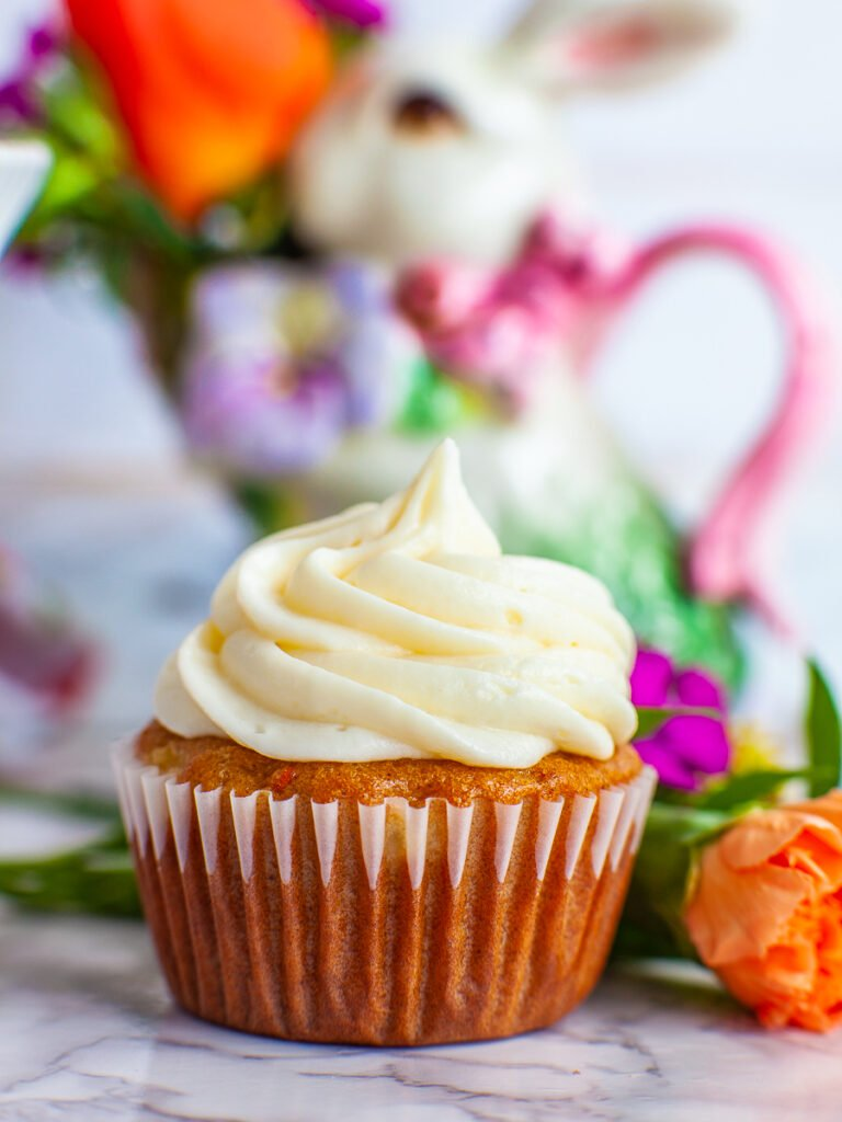 maple pineapple pecan carrot cupcakes with creamy frosting