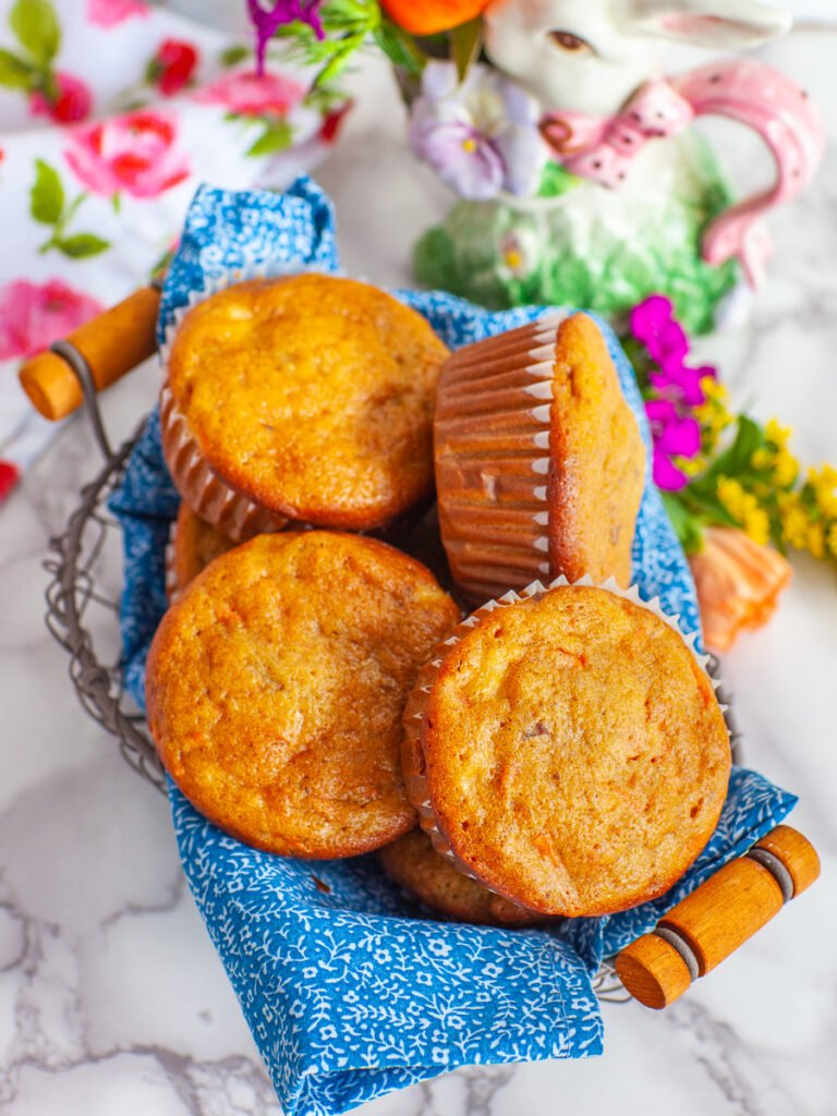 carrot cake muffins with maple syrup, pecans, pineapple