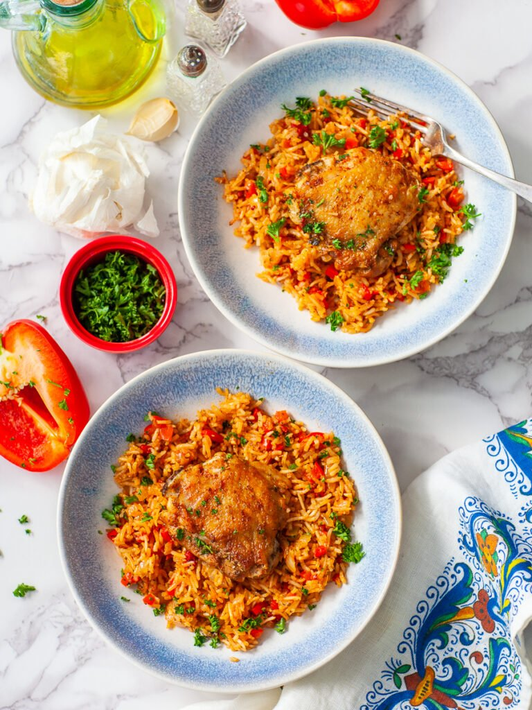 paprika and pepper chicken rice with bone-in chicken thighs