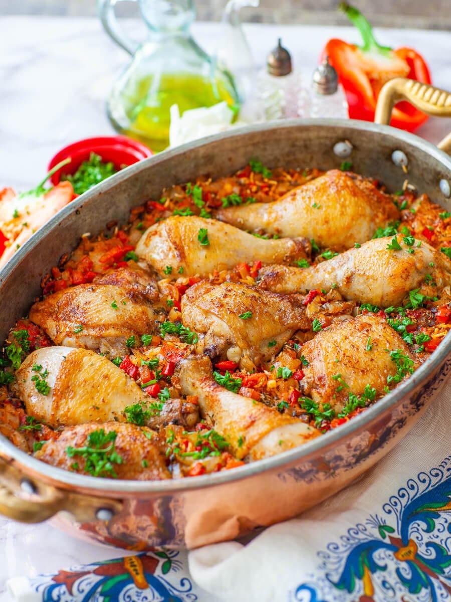 pepper and chicken rice in copper casserole