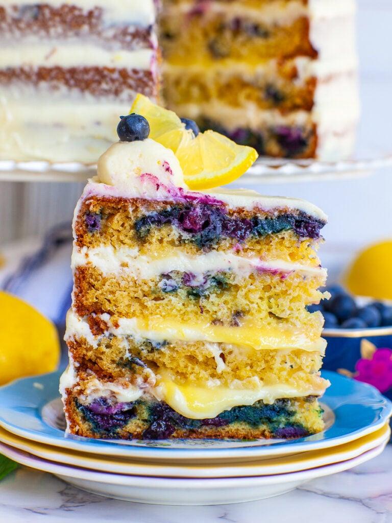 slice of blueberry lemon cake with lemon curd filling