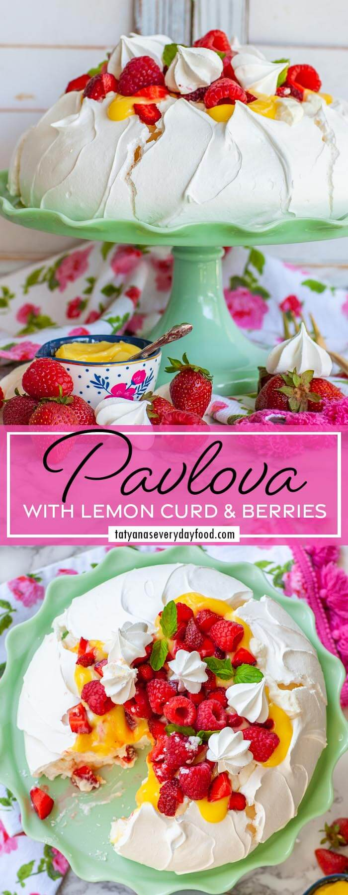 Classic Pavlova Recipe with lemon curd and berries (video)