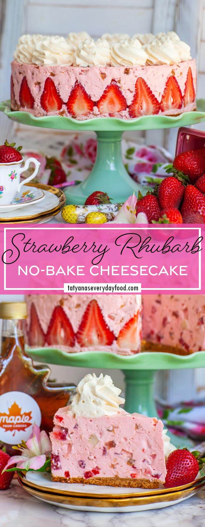 No-Bake Strawberry Cheesecake with Rhubarb & Maple Syrup video recipe