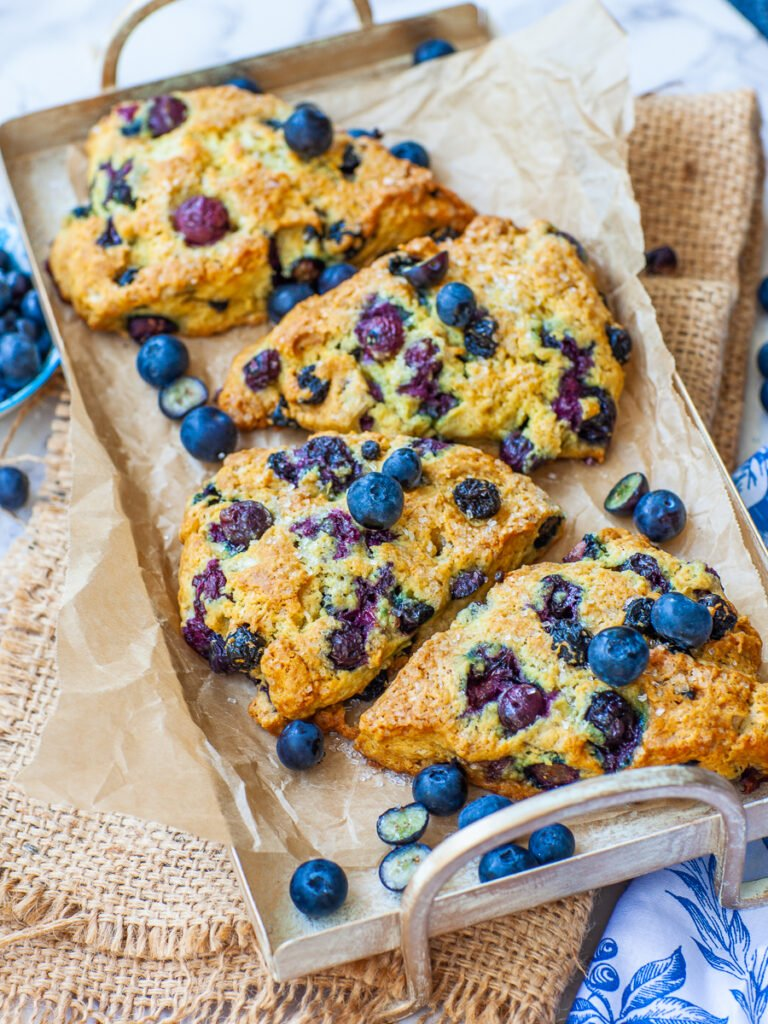 large blueberry scones with dried and fresh blueberries
