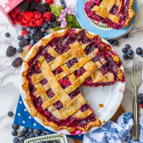 mixed berry pie with lattice top